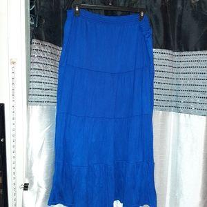 Blue boho maxi skirt